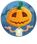 Cute Halloween Kid with Pumpkin Cartoon Vector Character - With Simple Style Halloween Background