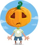 Cute Halloween Kid with Pumpkin Cartoon Vector Character - With Sky Background