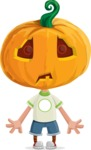 Cute Halloween Kid with Pumpkin Cartoon Vector Character - With Stunned Face