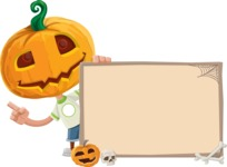 Cute Halloween Kid with Pumpkin Cartoon Vector Character - With Whiteboard on Halloween Theme