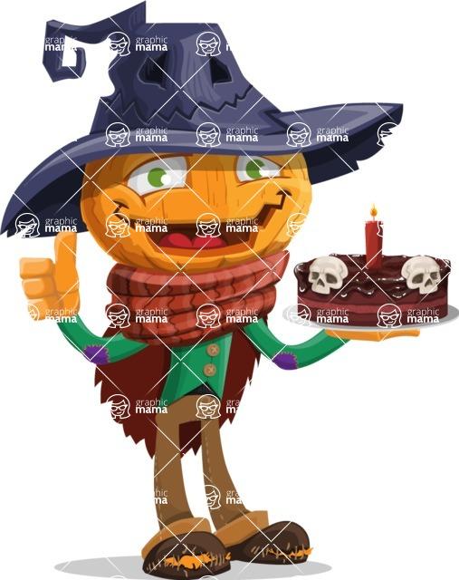 Halloween Scarecrow Cartoon Vector Character - Holding a Halloween Cake
