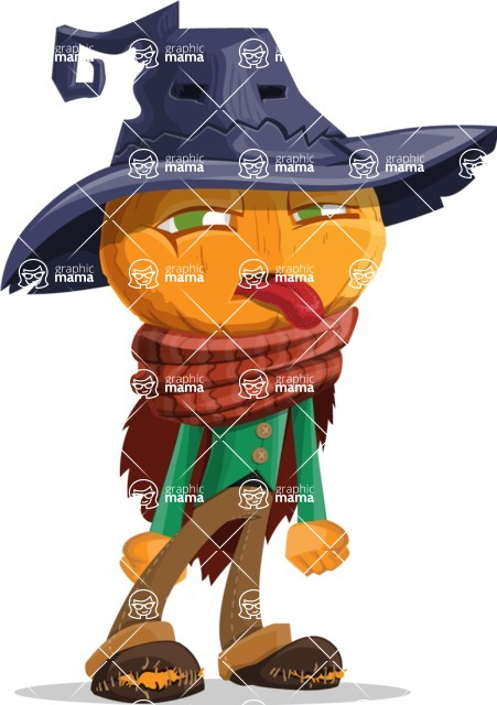 Halloween Scarecrow Cartoon Vector Character - Making a Funny Face
