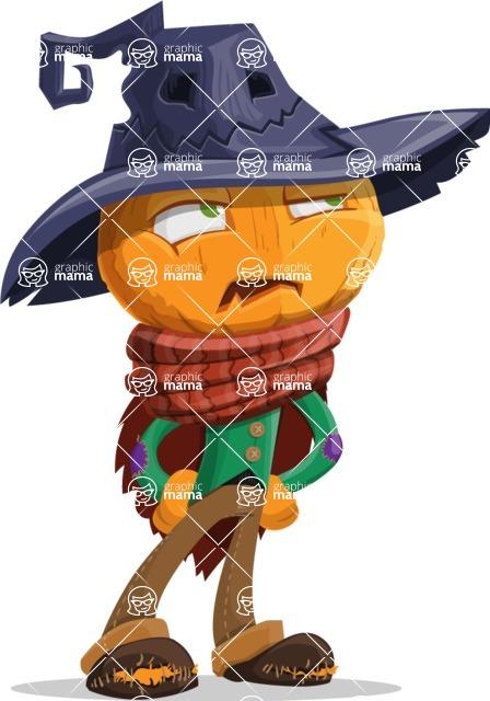 Halloween Scarecrow Cartoon Vector Character - Rolling Eyes