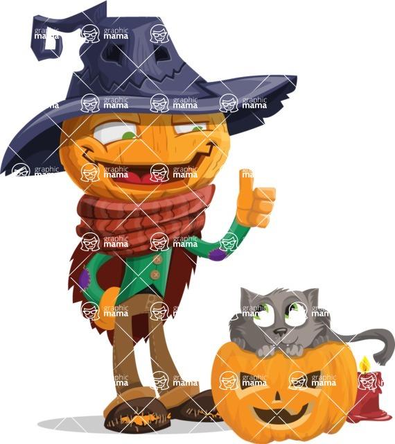 Halloween Scarecrow Cartoon Vector Character - With Cat
