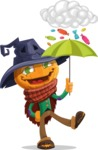 Halloween Scarecrow Cartoon Vector Character - and Candies Raining Concept