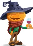 Halloween Scarecrow Cartoon Vector Character - At Night Drinking Glass of Wine