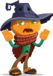 Halloween Scarecrow Cartoon Vector Character - Being Afraid