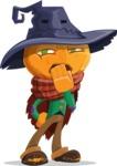 Halloween Scarecrow Cartoon Vector Character - Being Bored