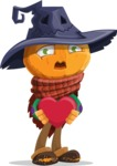 Halloween Scarecrow Cartoon Vector Character - Being Cute with Love Heart