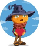 Halloween Scarecrow Cartoon Vector Character - Being Romantic with Sky Background