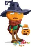 Halloween Scarecrow Cartoon Vector Character - Being Sad With Broken Pumpkin Lantern