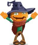 Halloween Scarecrow Cartoon Vector Character - Being Scared