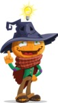 Halloween Scarecrow Cartoon Vector Character - Being Smart with an Idea