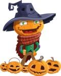 Halloween Scarecrow Cartoon Vector Character - Celebrating Halloween With Pumpkins