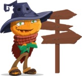 Halloween Scarecrow Cartoon Vector Character - Choosing a Way To Go