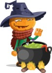 Halloween Scarecrow Cartoon Vector Character - Cooking in a Caldron