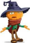 Halloween Scarecrow Cartoon Vector Character - Feeling Confused