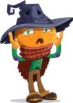 Halloween Scarecrow Cartoon Vector Character - Feeling Shocked
