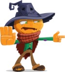 Halloween Scarecrow Cartoon Vector Character - Finger Pointing with Angry Face