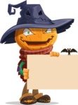 Halloween Scarecrow Cartoon Vector Character - Holding a Blank Halloween Sign