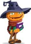 Halloween Scarecrow Cartoon Vector Character - Holding a Book