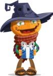 Halloween Scarecrow Cartoon Vector Character - Holding a Halloween Gift