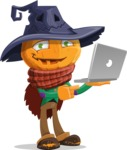 Halloween Scarecrow Cartoon Vector Character - Holding a Laptop
