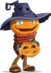 Halloween Scarecrow Cartoon Vector Character - Holding a Pumpkin Lantern