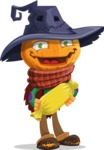 Halloween Scarecrow Cartoon Vector Character - Holding a Treat