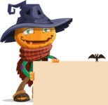 Halloween Scarecrow Cartoon Vector Character - Holding Blank Presentation Sign and Making a Point