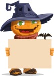 Halloween Scarecrow Cartoon Vector Character - Holding Blank Presentation Sign for Halloween