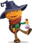 Halloween Scarecrow Cartoon Vector Character - Holding Potion