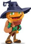 Halloween Scarecrow Cartoon Vector Character - Holding Sack with Candies