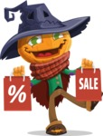 Halloween Scarecrow Cartoon Vector Character - Holding Shopping Bags