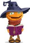 Halloween Scarecrow Cartoon Vector Character - Making a Curse with a Book