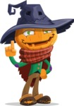 Halloween Scarecrow Cartoon Vector Character - Making a Point