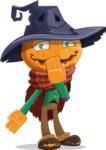 Halloween Scarecrow Cartoon Vector Character - Making Oops Gesture