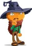 Halloween Scarecrow Cartoon Vector Character - Making Quiet Sign with Hand