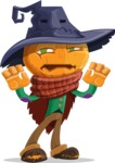 Halloween Scarecrow Cartoon Vector Character - Making Scary Face