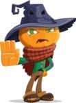 Halloween Scarecrow Cartoon Vector Character - Making Stop Sign