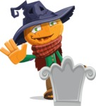 Halloween Scarecrow Cartoon Vector Character - On a Grave