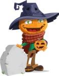 Halloween Scarecrow Cartoon Vector Character - On a Graveyard