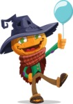 Halloween Scarecrow Cartoon Vector Character - On a Party with a Balloon