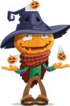 Halloween Scarecrow Cartoon Vector Character - Playing on Halloween