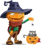 Halloween Scarecrow Cartoon Vector Character - Playing With Cat on Halloween