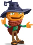 Halloween Scarecrow Cartoon Vector Character - Pointing and Making Thumbs Up