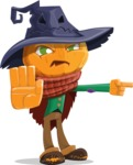 Halloween Scarecrow Cartoon Vector Character - Pointing with a Finger