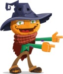 Halloween Scarecrow Cartoon Vector Character - Pointing with Hands