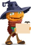 Halloween Scarecrow Cartoon Vector Character - Presenting on a Blank Halloween Sign