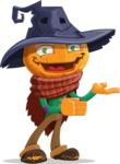 Halloween Scarecrow Cartoon Vector Character - Presenting with Both Hands